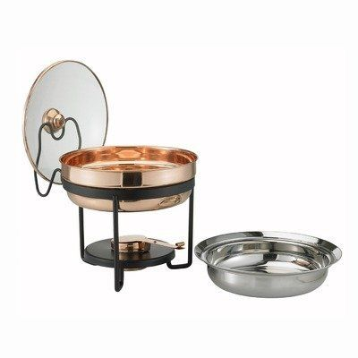 "Decor Chafing Dish with Glass Lid by Old Dutch International. $70.19. 0. Food Warmers. Small Appliances. UPS RATES in 10-12 days. 970 Features: -Chafing dish.-Material: Stainless steel.-Glass lid.-Wrought iron stand.-Contemporary style.-Hand wash glass lid and dishwasher safe buffet pan.-Wash with warm soapy water and hand dry clean.-Oven and dishwasher safe.-Capacity: 2.5 Quart. Color/Finish: -Combination of copper and brass finish. Dimensions: -Overall dimensions: 11.75""..."