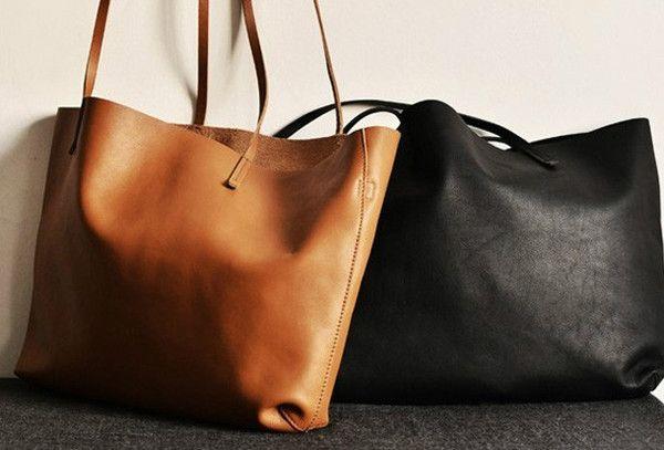 Handmade modern fashion leather big large tote bag shoulder bag handba | EverHandmade