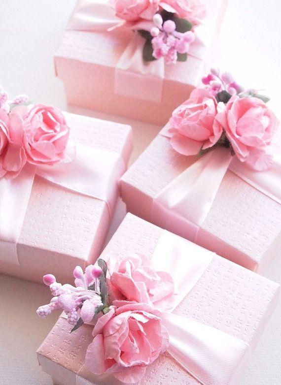 Wedding - Wedding Favors Blush Pink Ivory Fuchsia, Ring Jewelry Box, Baby Shower Favors