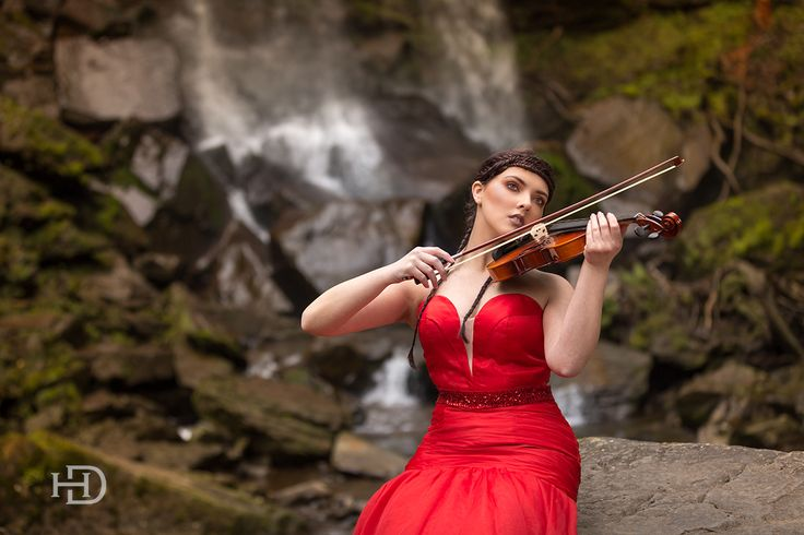 Water fall, model, violin, music, water, Wales, Model, Neath , red dress, fresh water, photography