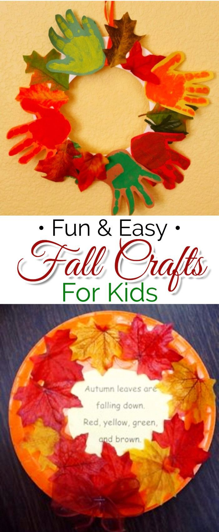 Fall crafts for kids - Easy kids fall crafts for preschool, pre-k, Sunday school, classroom, and for kids to make at home #FallintheClassroom #artsandcrafts