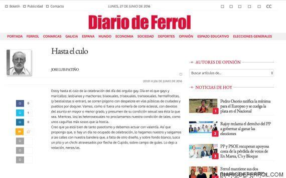 """Indignación en las redes con esta columna """"homófoba"""" del Diario de Ferrol"""