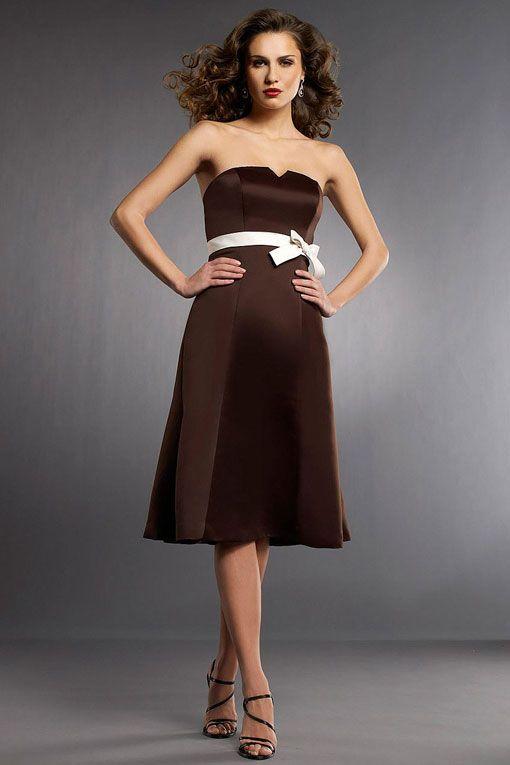 Amazing A-line natural waist satin dress for bridesmaid