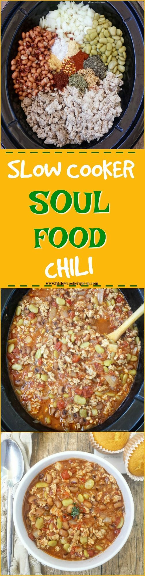 Crockpot / Slow Cooker Soul food ingredients and flavors take over the slow cooker for this unique spin on chili. Hearty yet healthy, this comfort food can be eaten year-round.