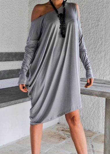Free shipping Sexy Skew Neck Batwing Sleeve Grey Dress