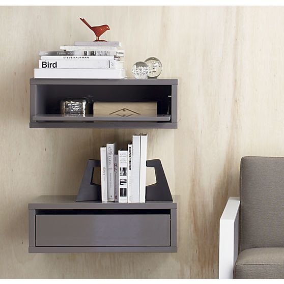 Slice grey wall mounted storage shelf grey walls for Bedside table shelf