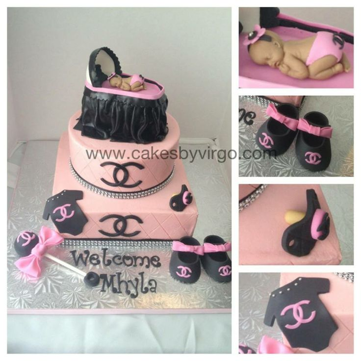 Chanel Baby Shower Cake 2 Chanel Inspired Babyshower