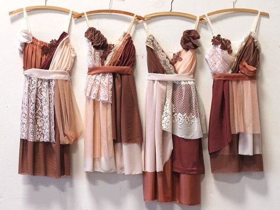 These photos show examples of autumnal dresses made for bridal parties weve worked with in the past. The original dresses are not available, but we can create a new gathering for you in the range of colors of your choice! Please see details below:  These dresses take about 2-4 months to create after measurements and deposits are received and a palette is chosen (if it differs from the one shown). Each one is unique and different while reflecting the general style shown in the photo. They are…