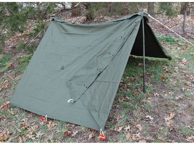Military Surplus Complete Shelter Half System 2 Person Tent Canvas