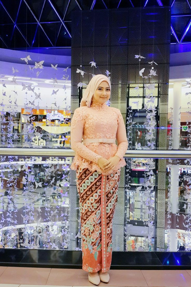 #kebaya #lace #batik #peach #hijab #partydress #lacedress