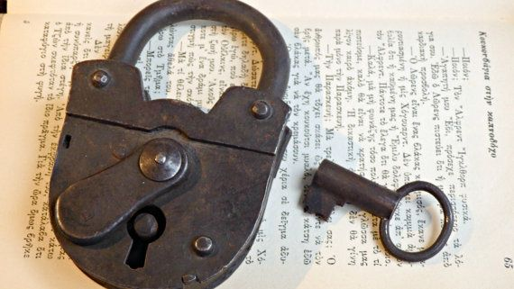 1900s' Antique Jail Padlock with Skeleton Key  by LeFuCycliste