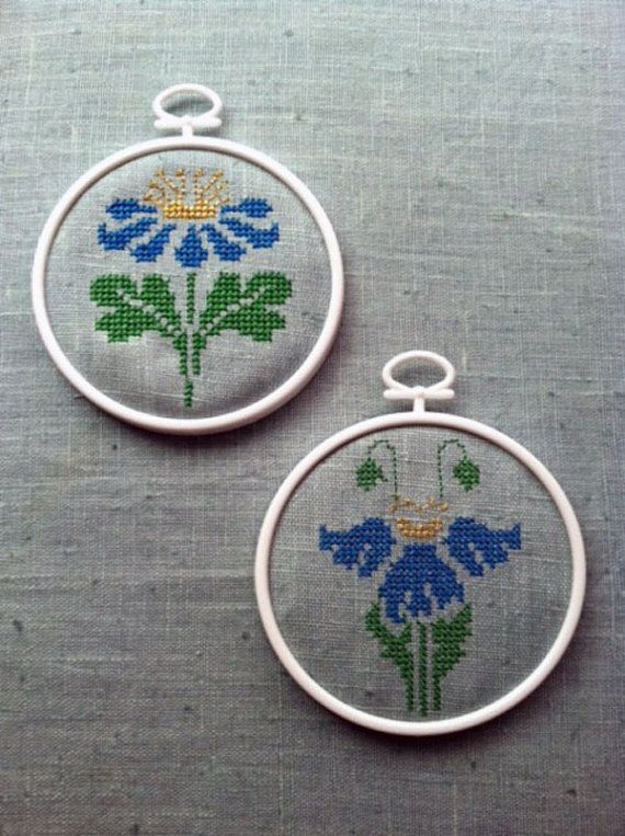 Instant Download: Art Deco Flowers Mini Cross Stitch Set (Machine Embroidery)
