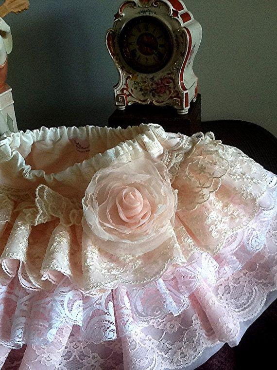 WEDDING flower girl pale pink peach ecru vintage by Babybonbons, $69.00