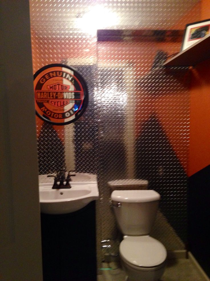 Delightful Harley Davidson Themed Bathroom Done For Our Basement Bar Area. Will Be  Acid Staining The