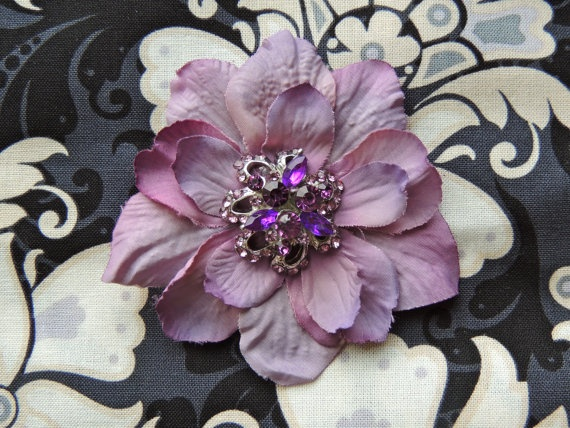 Small purple, lavender delphinium flower clip hair accessory bridesmaid, wedding guest, flower girl, mother of the bride by LavenderRoseAcc, $10.00