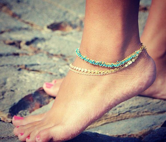 Triple chain anklets.