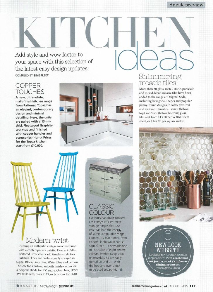 real homes august 2015 our new voni and genau hexagon iridescent glass mosaic tiles