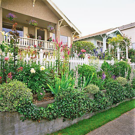 Simple sidewalk landscaping ideas : Front yard sidewalk garden ideas gardens concrete walls and picket