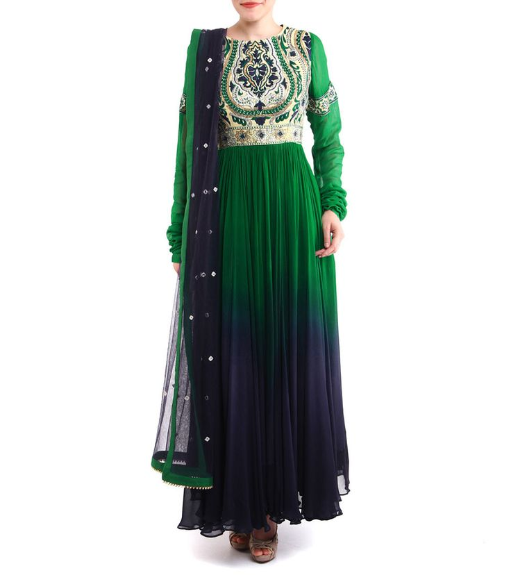 Green And Blue Raw Silk And Georgette Anarkali Suit Resham And Gota Embroidery