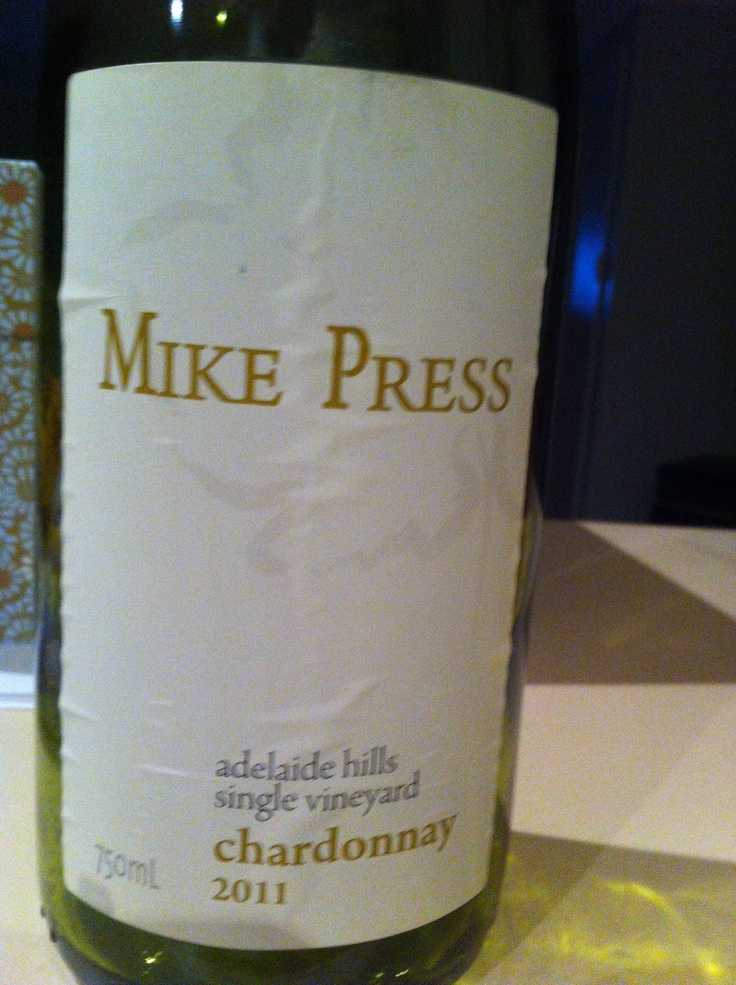 Mike Press Adelaide Hills Chardonnay 2011 My one and only vice today. I swam laps, did my Physio exercises and only ate good food. I even did my filing (although this could count as procrastination from work I really should be doing).