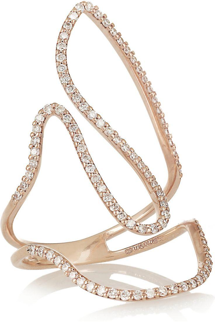 Artsy ring. (Loop 18-karat Rose Gold Diamond Ring | Diane Kordas)