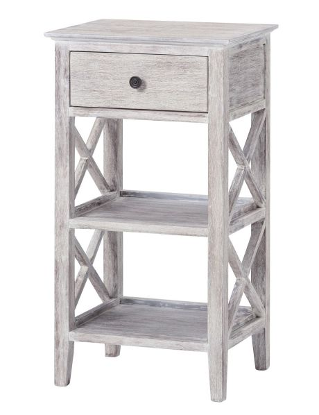The Coast side table features a modern white wash finish.