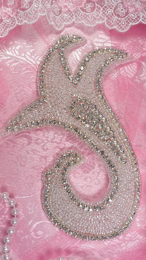 "JB109 Crystal Rhinestone Applique Silver Beaded 7"" (JB109-slcr). $10.99, via Etsy."