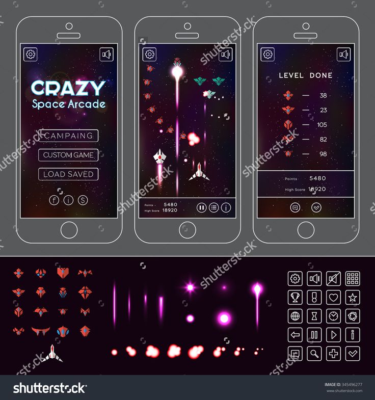 Vector Asset For Arcade Space Game. Spacecraft Sprites, Effects, Icons And…