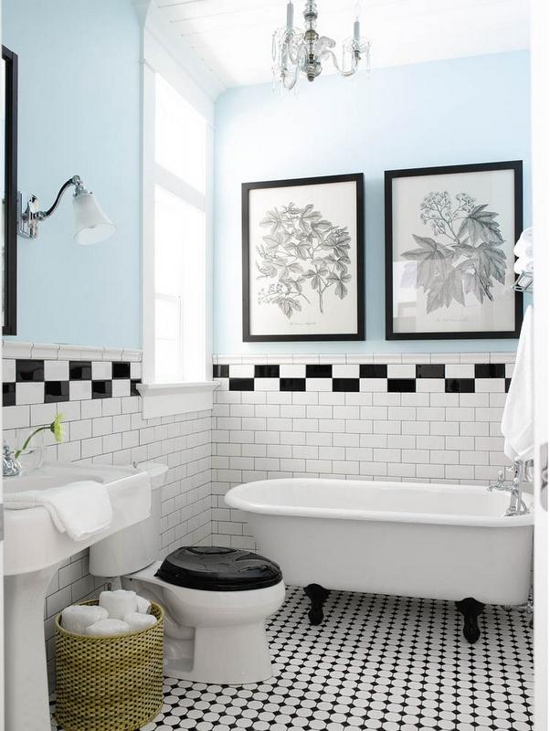 vintage black and white tile, bath tile, bathroom, bath