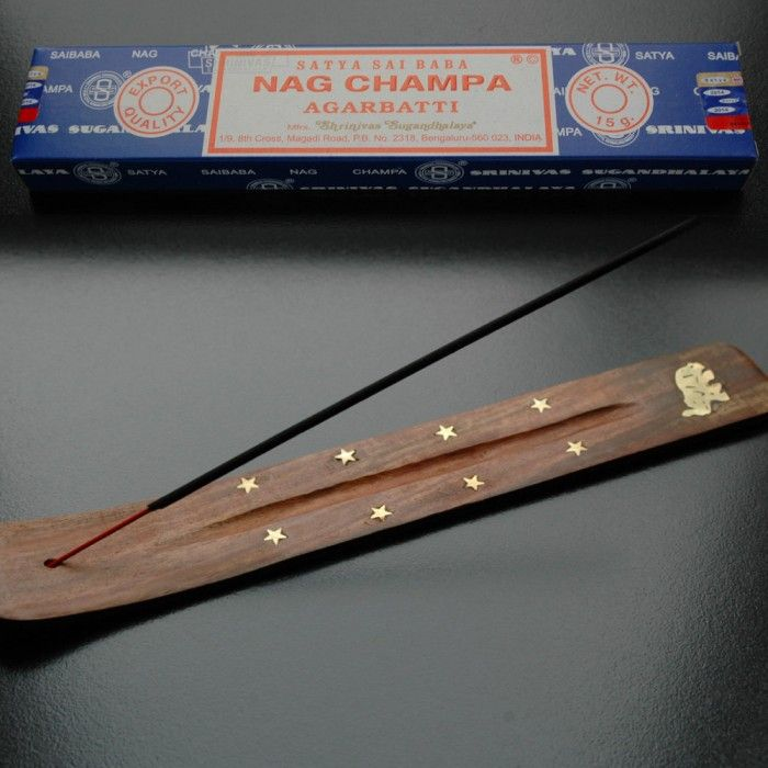 Nag Champa & Incense Burner.  This package includes Nag Champa incense sticks and a beautiful incense burner.  Burn this natural Satya Nag Champa incense to create a relaxing fragrance. This hand rolled incense is made according to traditional Indian recipes using methods unchanged in 400 years. Each box contains approximately 15 sticks.