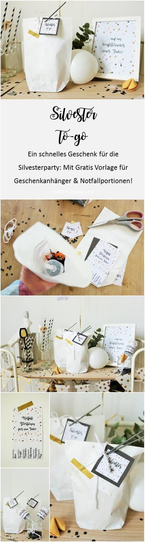 Ein schnelles DIY Geschenk für die Silvesterparty: Silvester to-go - mit Glückskeksen, Wunderkerzen, Konfetti und Mitternachtsküsschen. Mit Freebie für Geschenkanhänger und Notfallportionen zum nachbasteln, gefunden auf Partystories.de