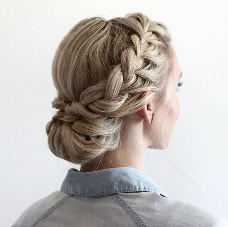Half updo with Dutch braids