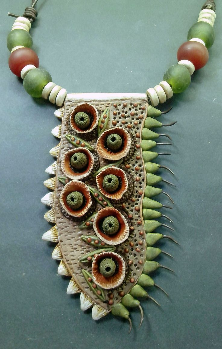 Polymer clay necklace with carnelian beads by Shelley Atwood