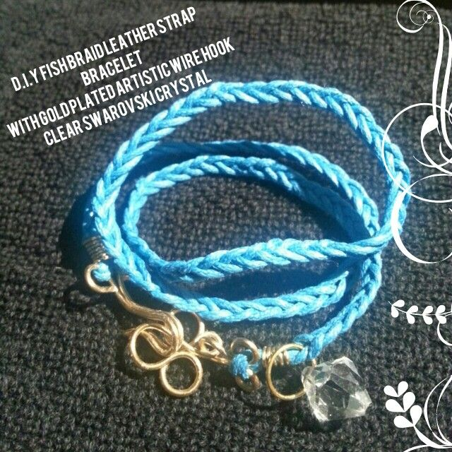 D.I.Y Fish Braid Leather Strap Bracelet With Gold Plated Artistic Wire Hook Clear Swarovski Crystal By J.C Workshop Interested Please Contact Us At Our Facebook Page J.C Workshop!