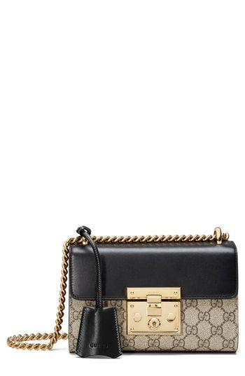 c34d7bbd0ab Where you can buy Gucci Small Padlock GG Supreme Canvas   Leather Shoulder  Bag