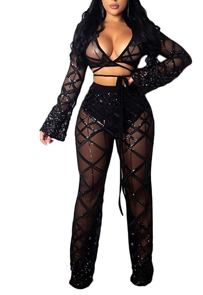 0b0bc566 Women's Sexy Sequin See Through Lace Up 2 Piece Outfit Sheer Mesh Hollow  Out Long Sleeve Crop Top Long Pants Set Jumpsuit