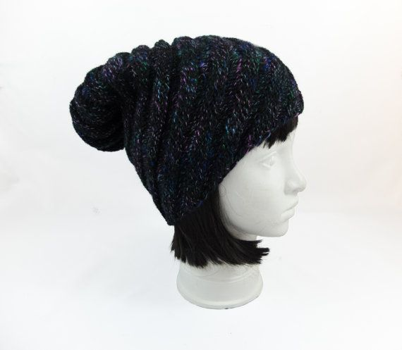 Black knitted hats for women warm wool slouchy beanie by Jousilook