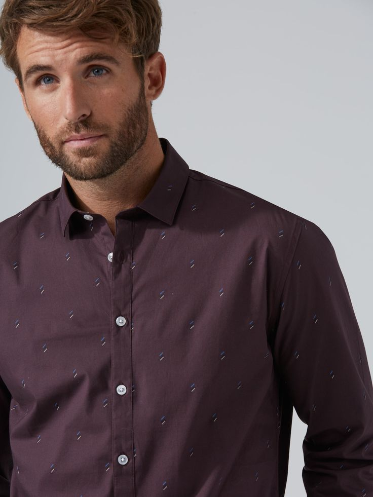 The Andover Dynamic Stretch Dress Shirt in Plum    Frank And Oak
