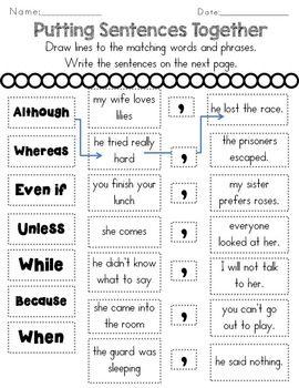 Subordinating Conjunctions Complex Sentences by Rock Paper Scissors | Teachers Pay Teachers                                                                                                                                                                                 More