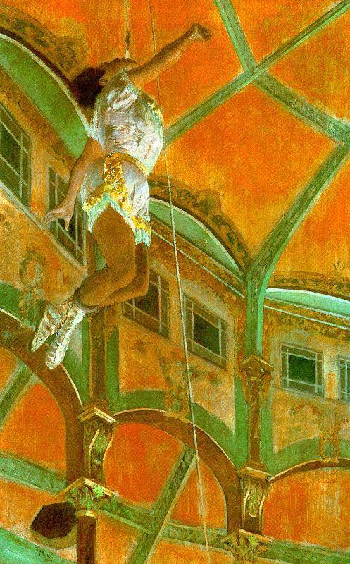 """""""Miss La La at the Cirque Fernande"""" (1879)With, La La, Cirque Fernando, 1879, Art, Edgar Degas, Painting, Circus, National Gallery"""
