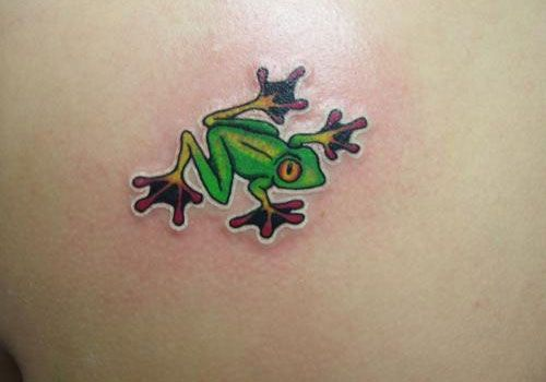Cute Tree Frog Tattoos | This small and cute tree frog tattoo looks attractive in bright green ...