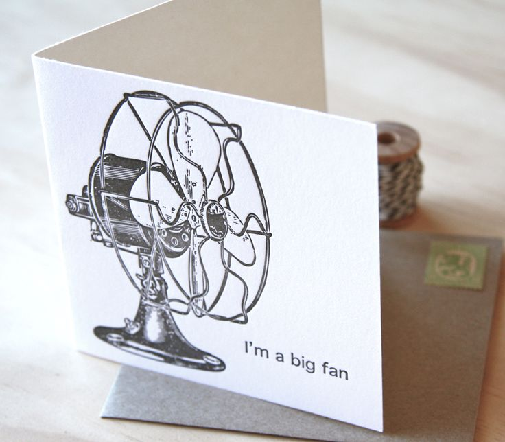 Fluid Ink Fine Letterpress of Australia - Big Fan –  A super svelte vintage retro fan adorns this super sweet letterpress card, with the pun 'I'm a big fan'. 10x10cm card with Kraft envelope  $6.50