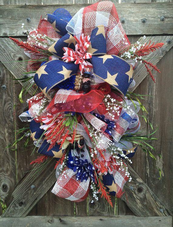 Summer Wreath, Patriotic Wreath, Summer Swag, Door Hanging, USA Decor, 4th of July Wreath, Stars & Stripes on Etsy, $79.00