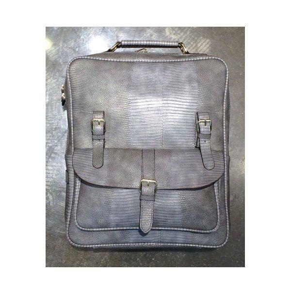 Korea Unisex Rusi Backpack School Travel Business Bag Faux Leather Gray Python