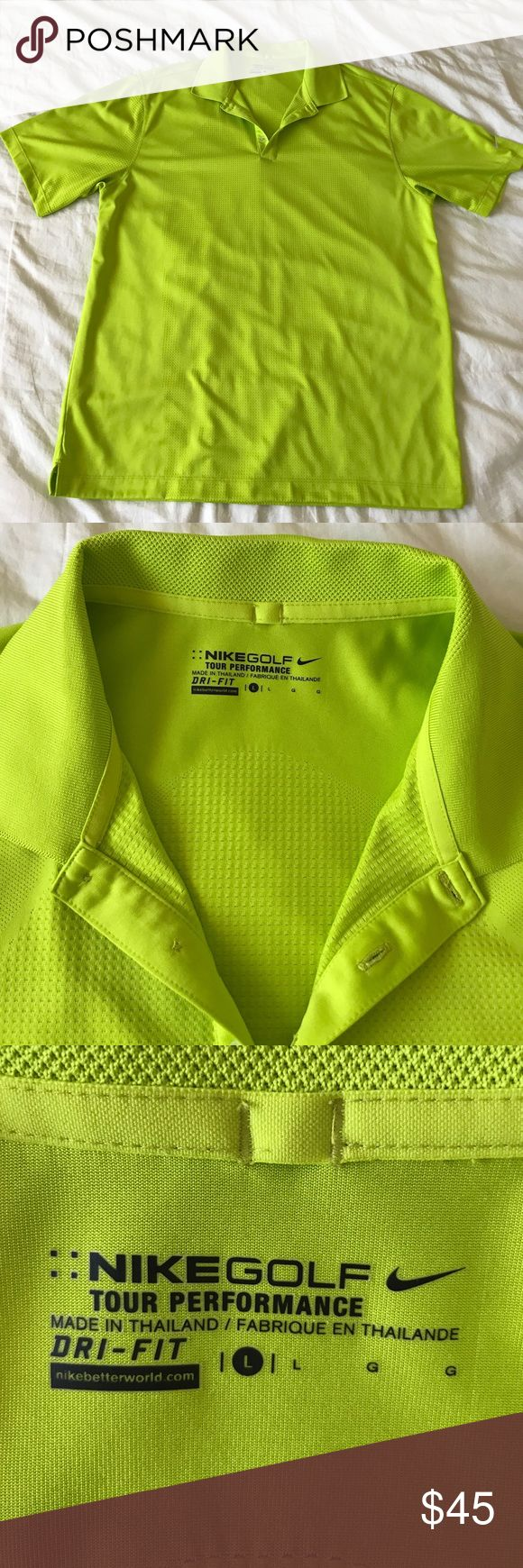 Nike Golf Tour Performance Dri-Fit polo Nike Golf polo made of their incredible dri-fit material that keeps the sweat away. Excellent condition with no signs of wear. It's a bright electric green color. Nike Shirts Polos