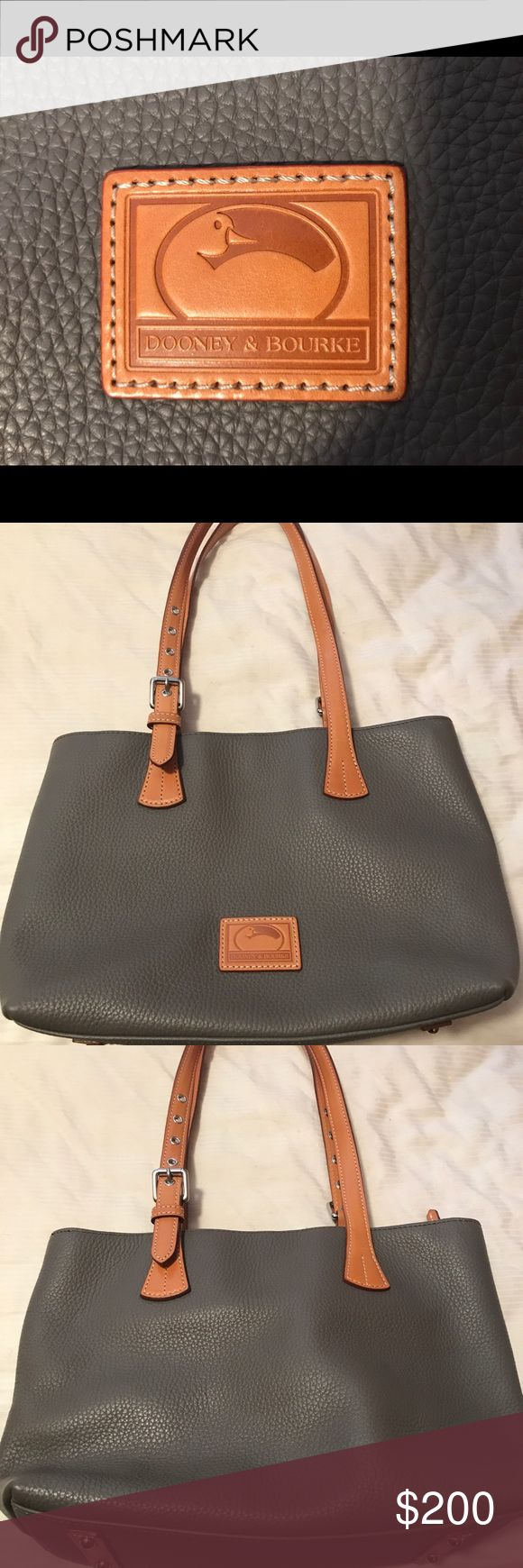 Dooney & Bourke Pebble Leather Hannah Tote Beautiful bag by D & B. Only used for 2 weeks! Excellent condition. Selling now at Belk for $328. This is a steal for $200! The color as described by D & B is called Elephant. Dooney & Bourke Bags Totes