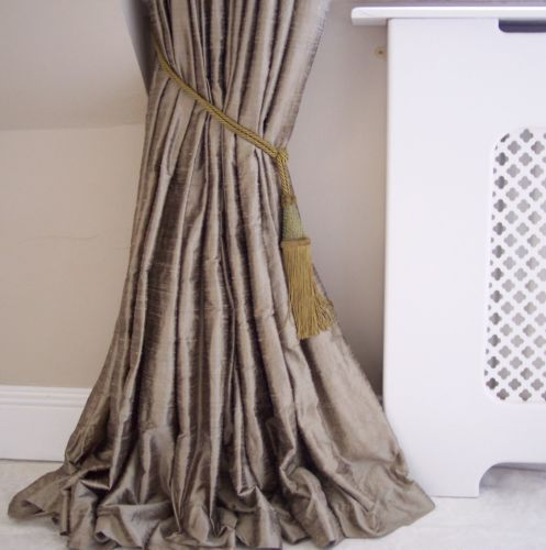 Blackout-Thermal-Lined-Real-Dupion-Silk-Curtains-Long-Huge-Mink-Gold