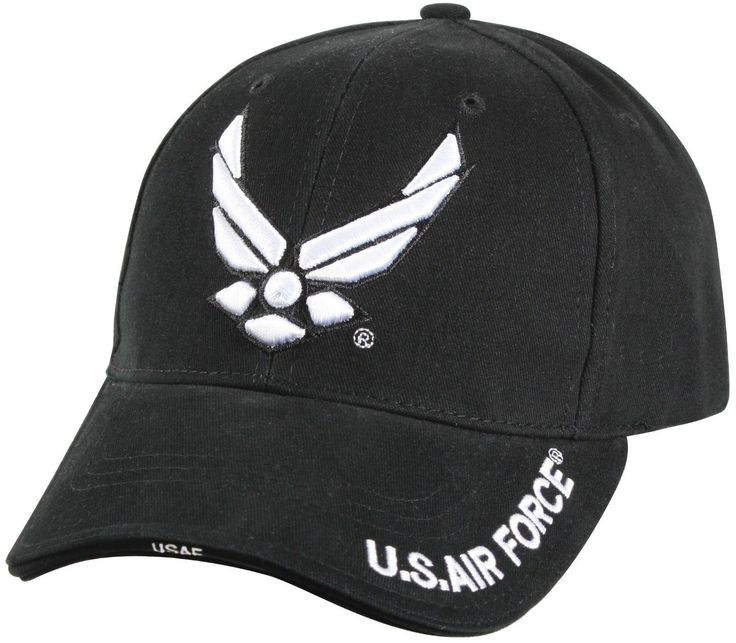 """Black Deluxe """"New Wing Air Force"""" Low Profile Cap - 100% Brushed Cotton Twill - Cap Color Is Black - Raised Embroidered Logo On Front Panel - Sandwich Brim With 1 Piece Woven Label - Adjustable Hook A"""