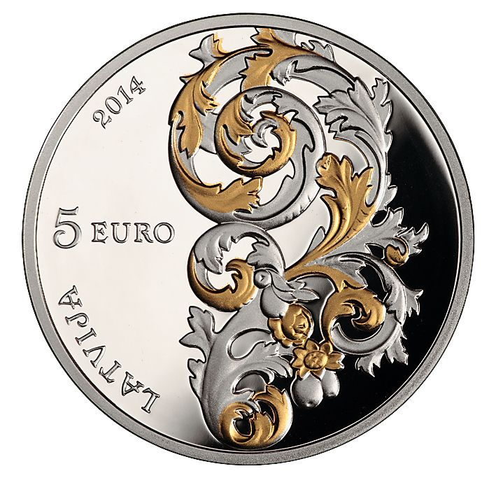Latvijas Banka is issuing a new 5 euro collector silver coin with gilded elements, dedicated to the Baroque art style in Courland (Kurzeme):  Obverse The obverse features an acanthus leaf design from the altar of the Lestene Church. The semi-circled inscription of the year 2014 occupies the upper part of the obverse on the left from the design, the inscription 5 EURO is in the centre, and the semi-circled inscription LATVIJA (Latvia) is placed in the lower part of the obverse.