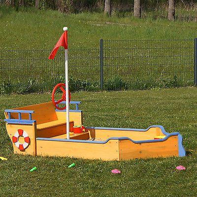 Fancy Sandkasten Boot aus Holz mit Geheimversteck Piratenboot Pirat Holzsandkasten